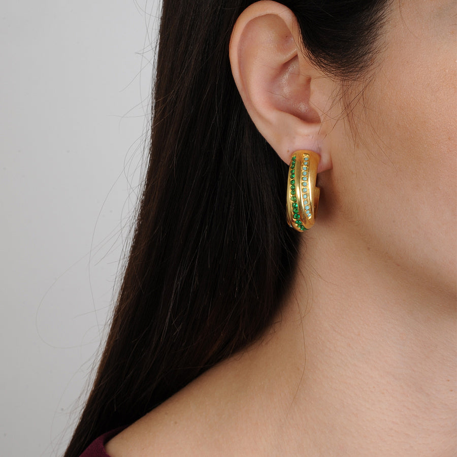 Clip Hoops with Green Zirconia Katerina Psoma