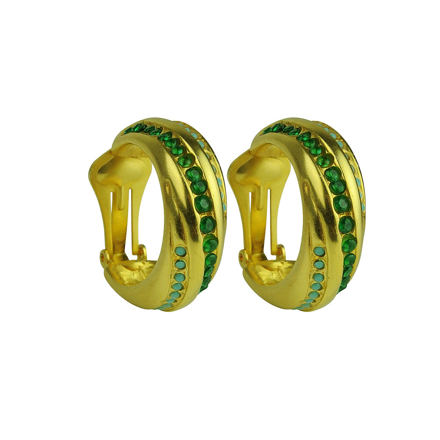 Irene Clip Hoops with Green Zirconia Katerina Psoma
