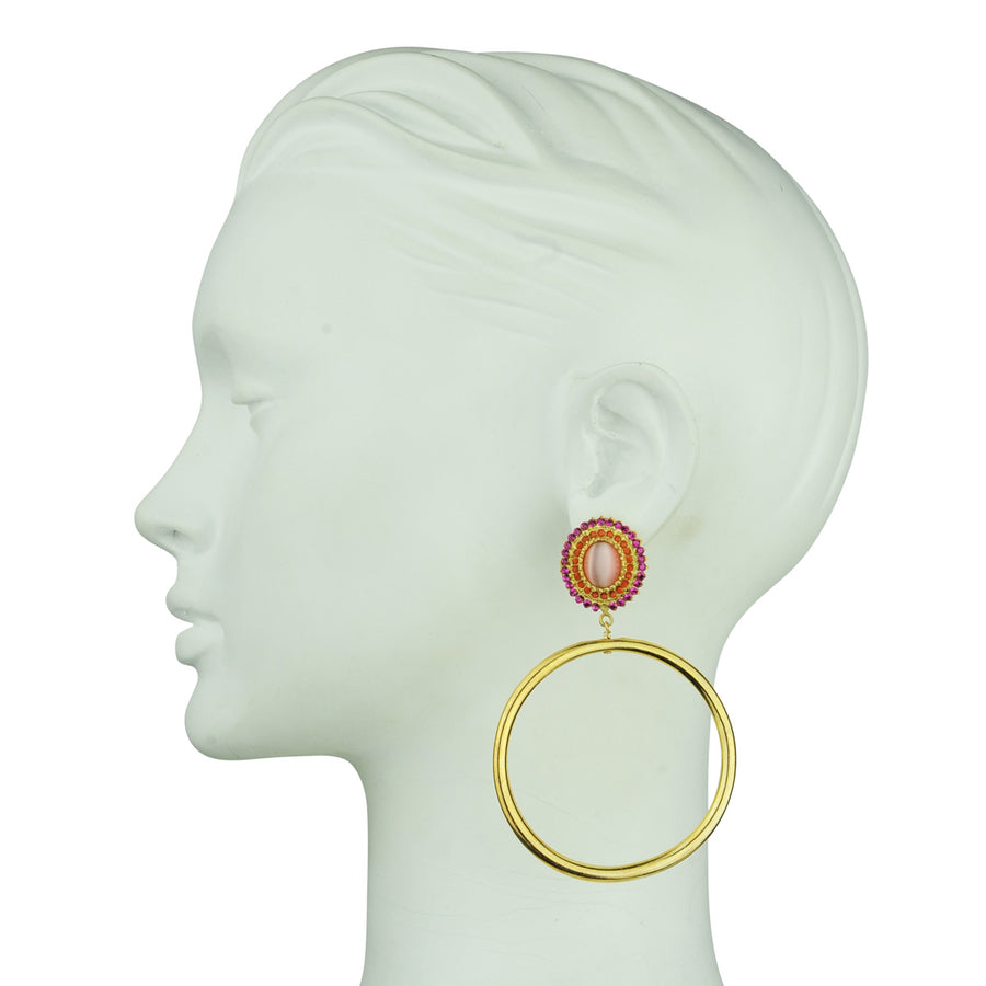 Gina Pink Rosettes and Gold plated Metal Hoops