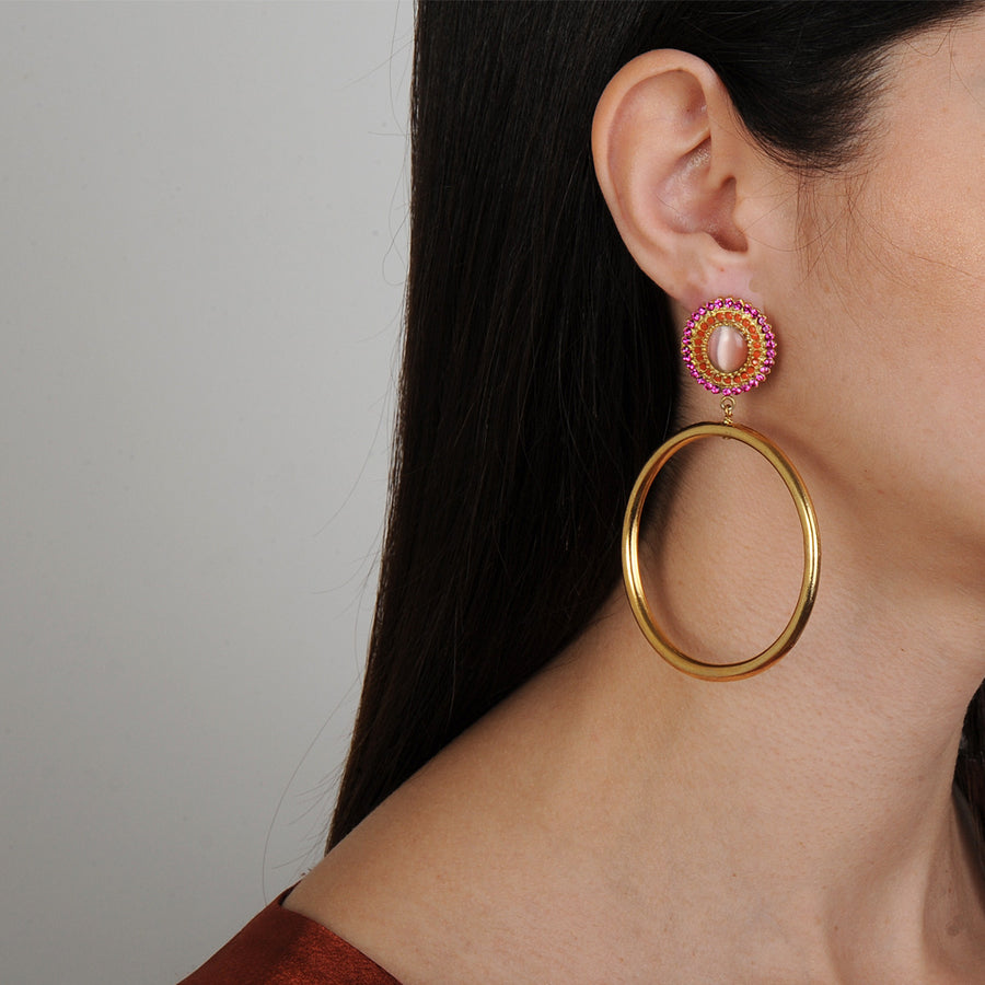 Pink Rosettes and Gold plated Metal Hoops Katerina Psoma
