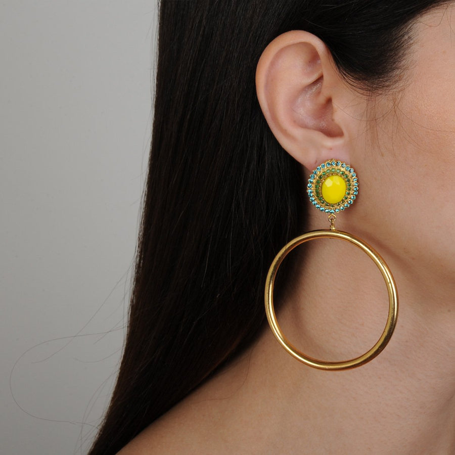 Katerina Psoma Yellow Rosettes and Gold plated Metal Hoops