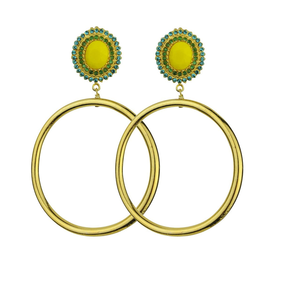 Gina Yellow Rosettes and Gold plated Metal Hoops