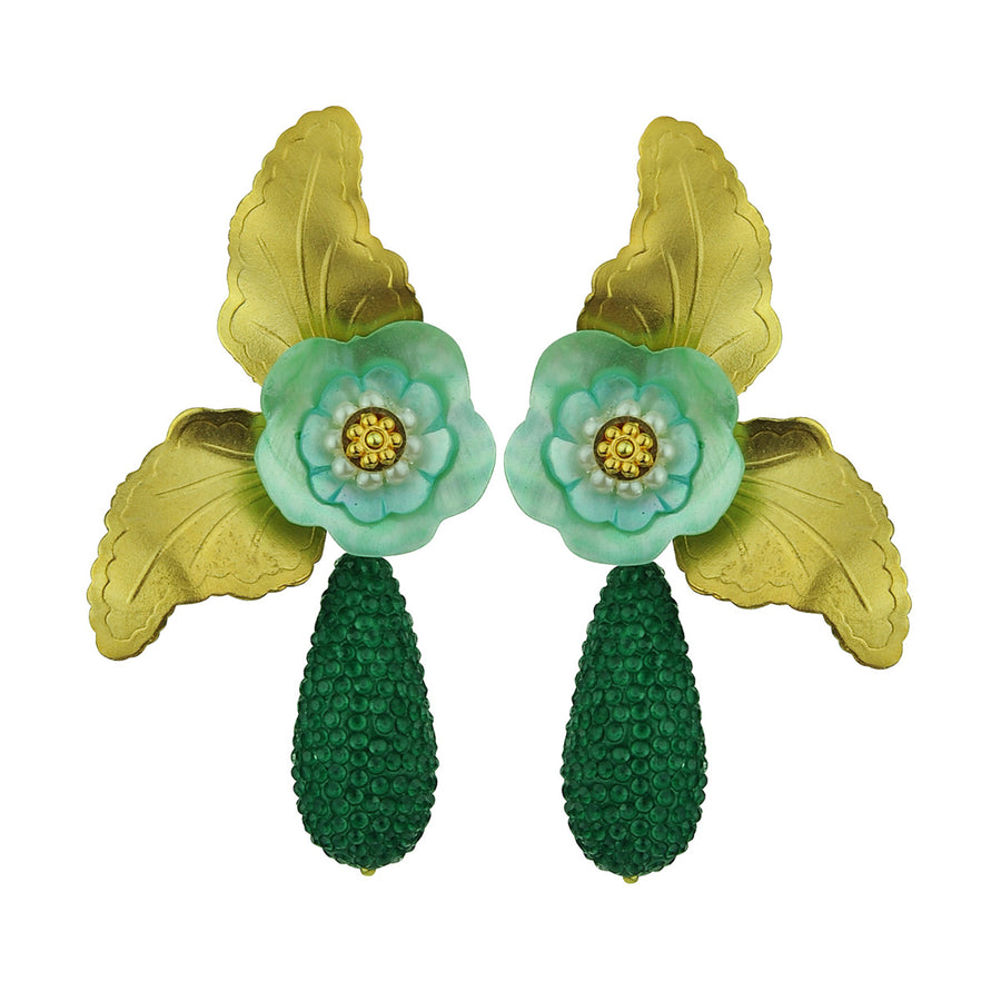 Antheia Dangle Earrings with Green Drops