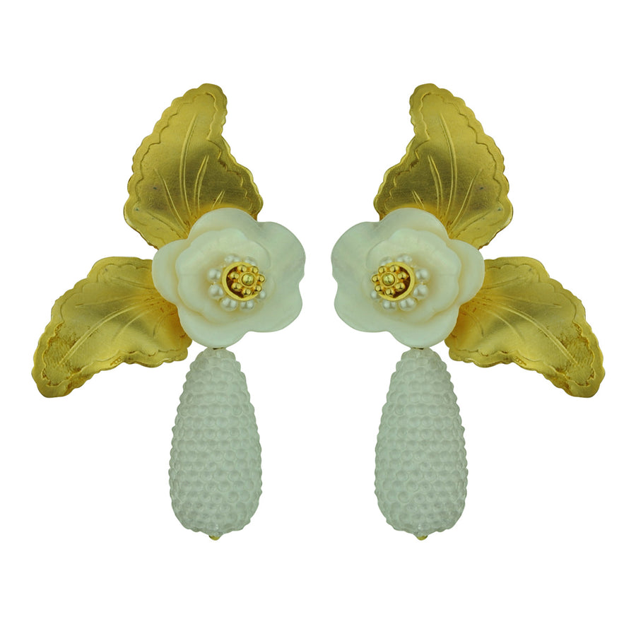 katerina psoma flower statement earrings with white dangle drops