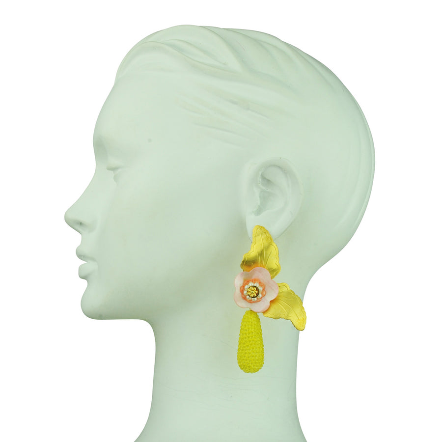 katerina psoma flower statement earrings with yellow dangle drops close upclose up