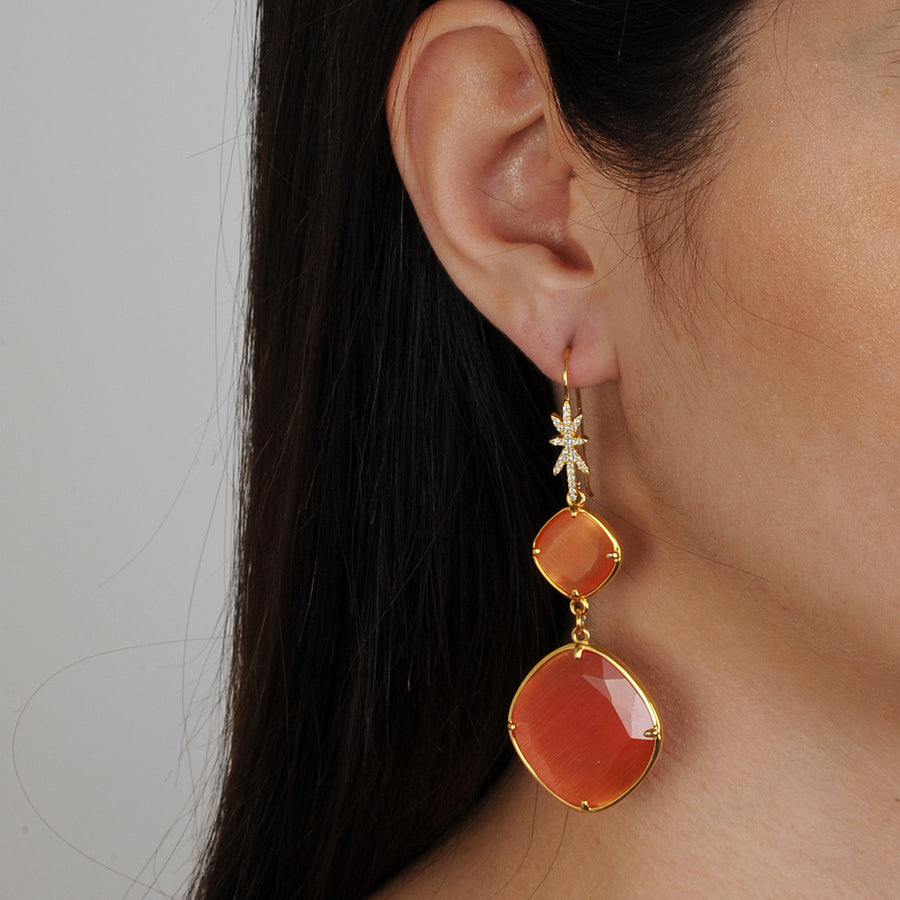 Eleanor Dusky Orange Cat's Eye Dangle Earrings