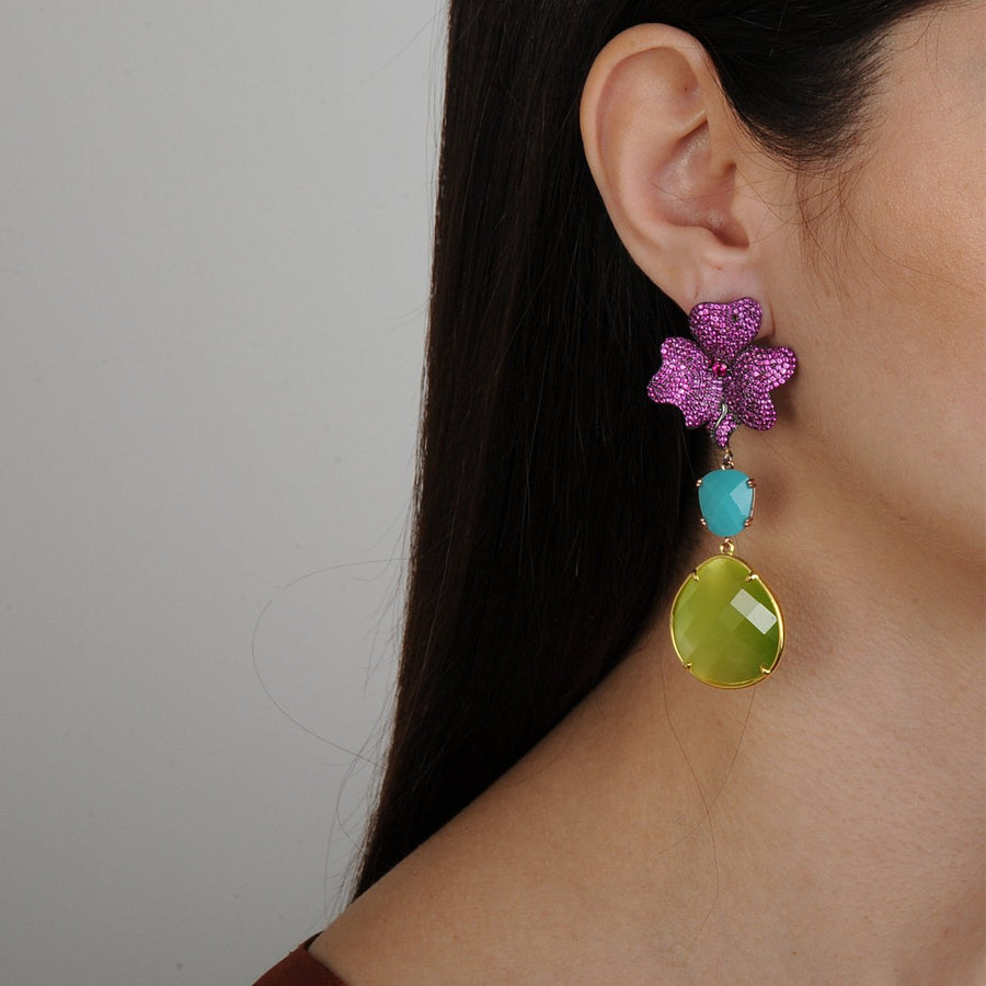 Antheia Fuschia Dangle Earrings Katerina Psoma