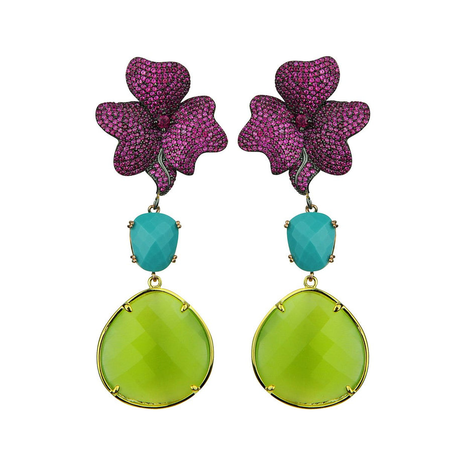 Antheia Fuschia Dangle Earrings