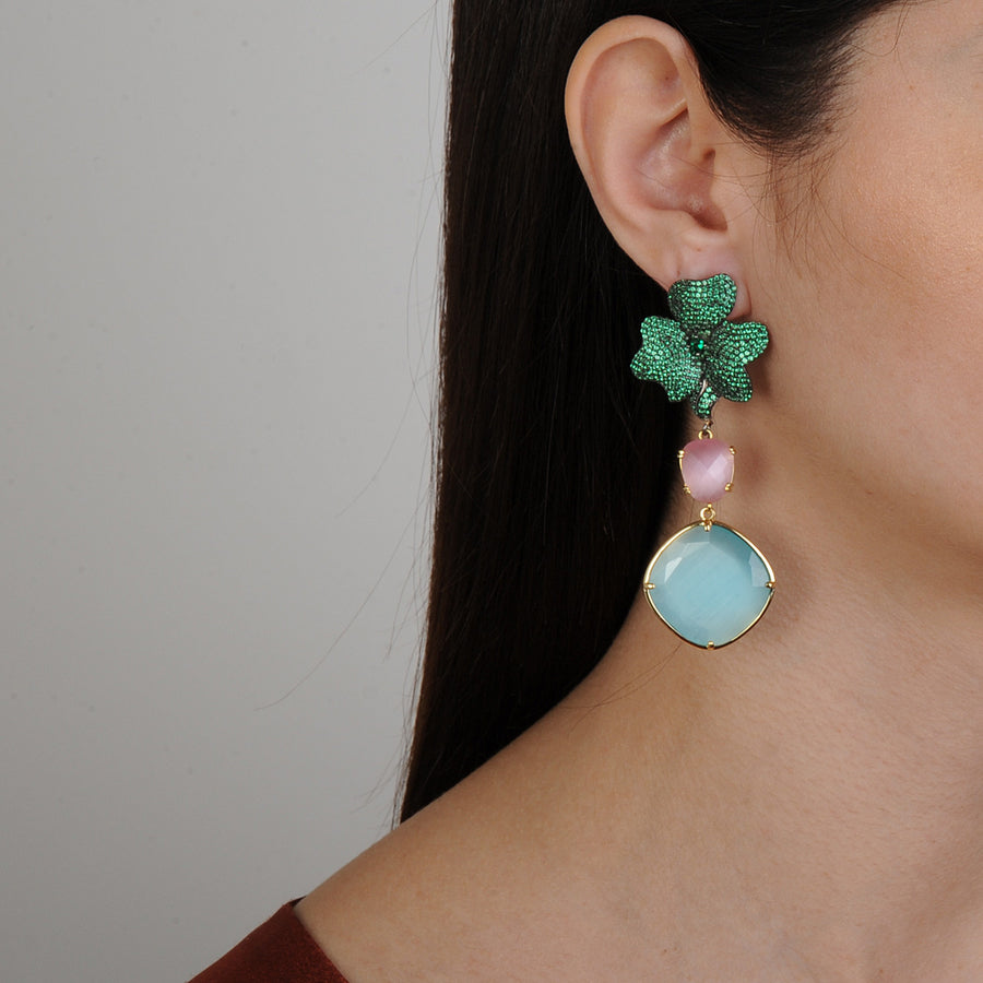 Katerina Psoma Green Dangle Earrings
