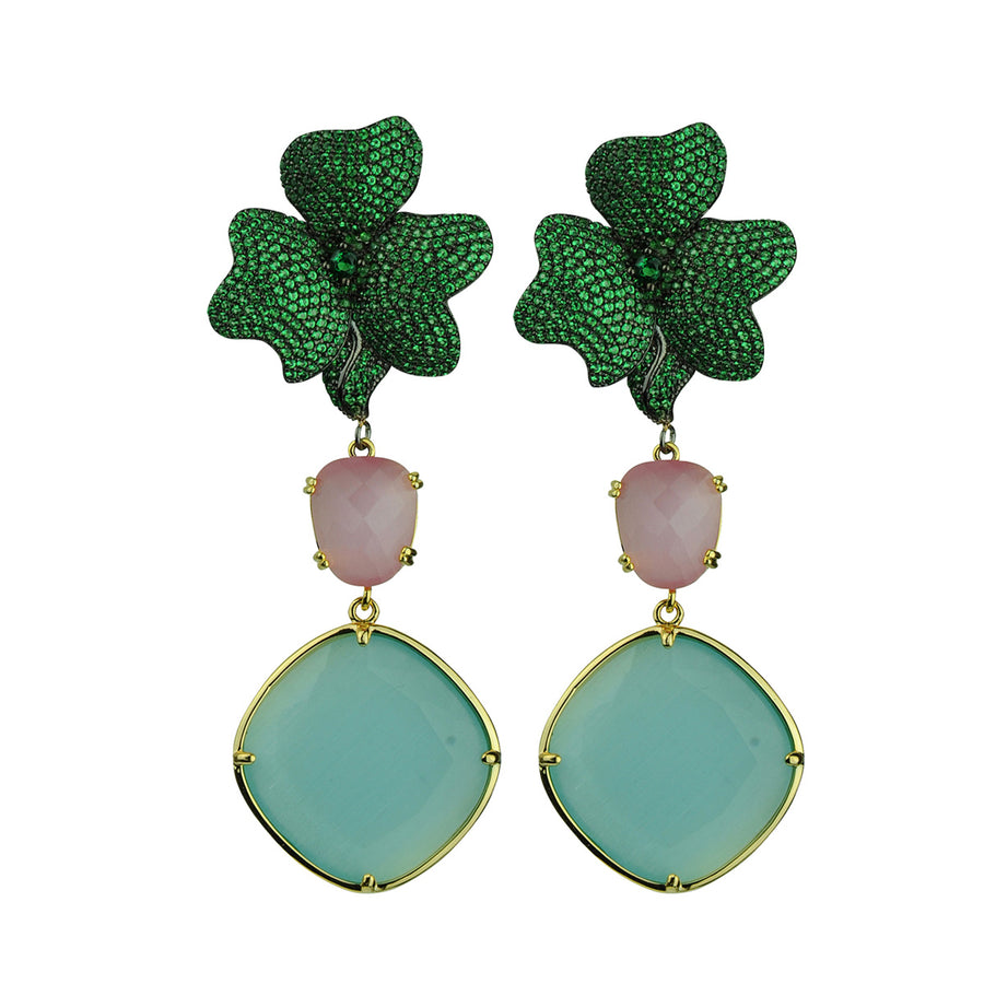 Antheia Green Dangle Earrings Katerina Psoma