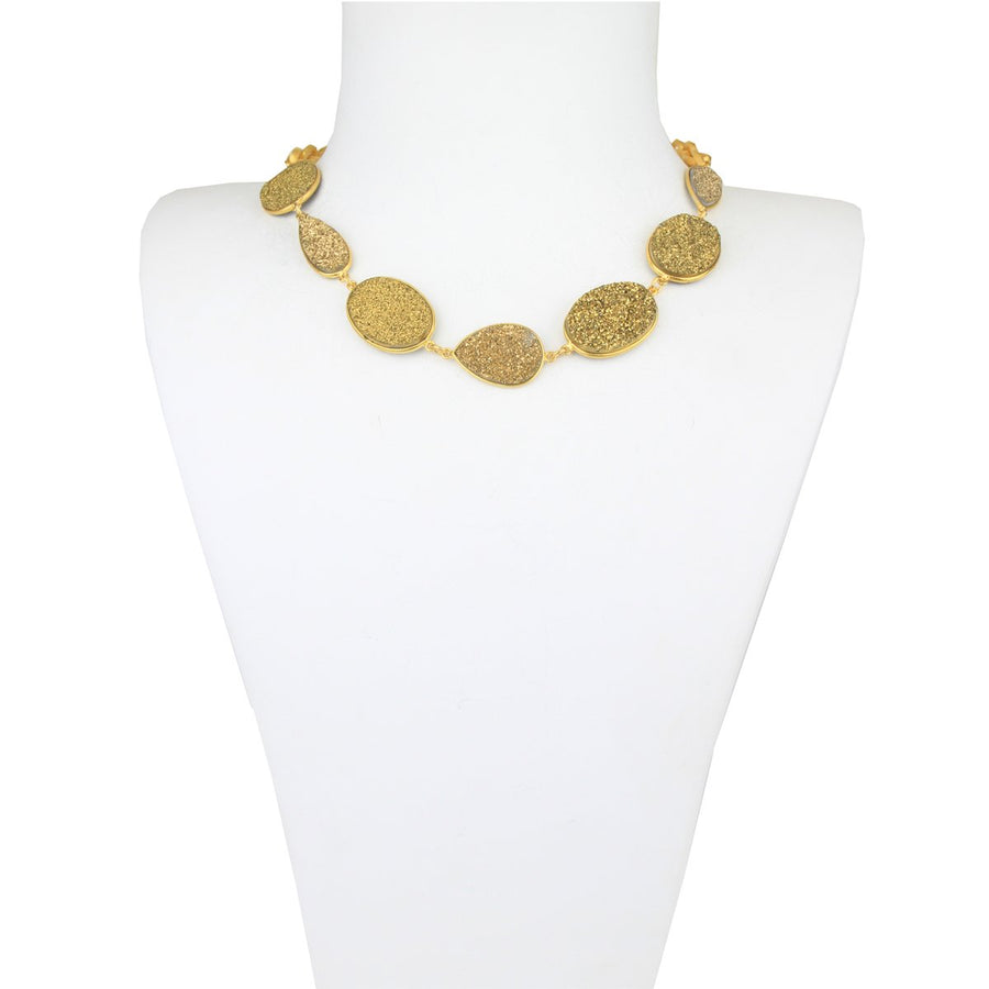 Gold Druzy Agate Short Necklace detail