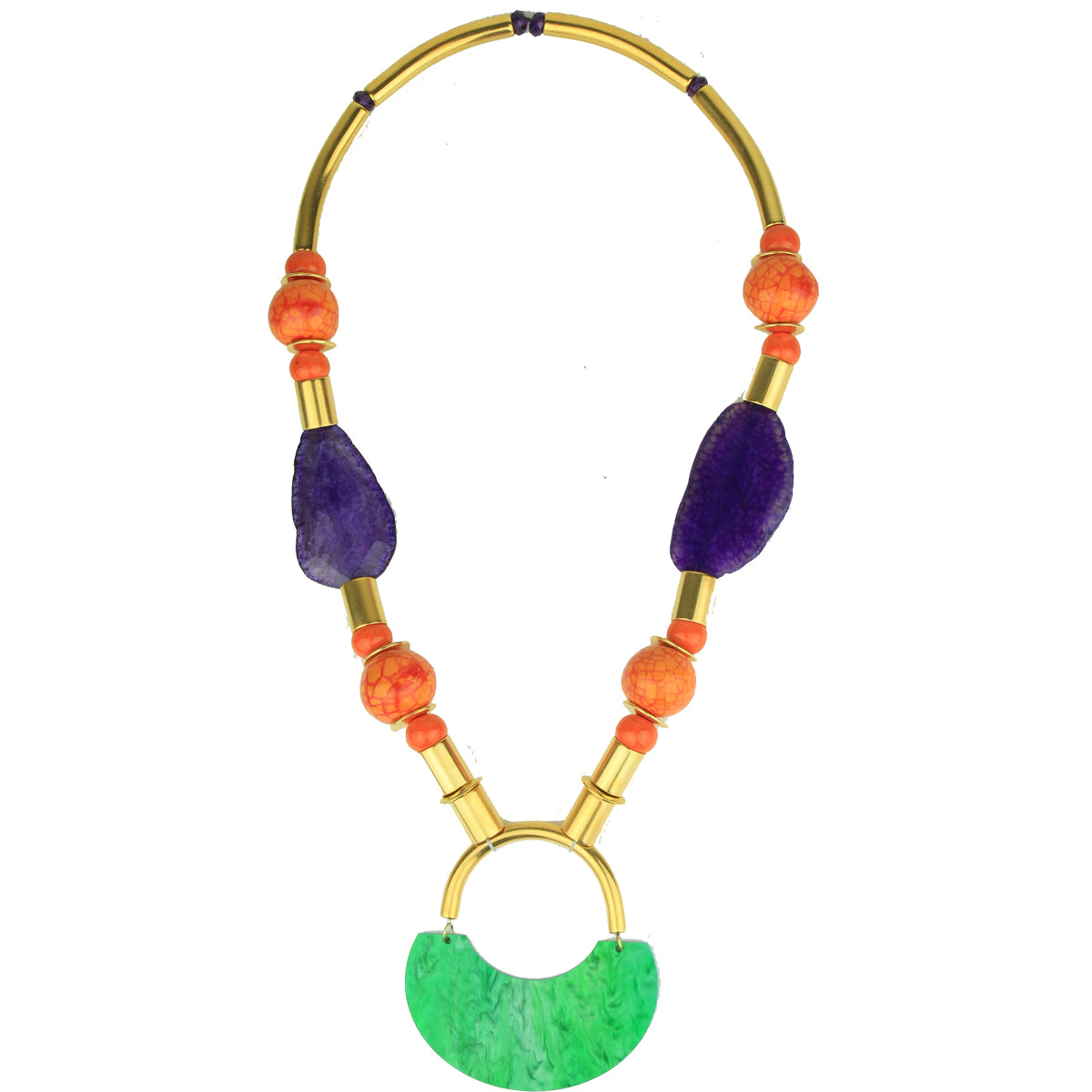 Aura Semiprecious Stones Necklace with Metal Tubes and Ceramic Beads
