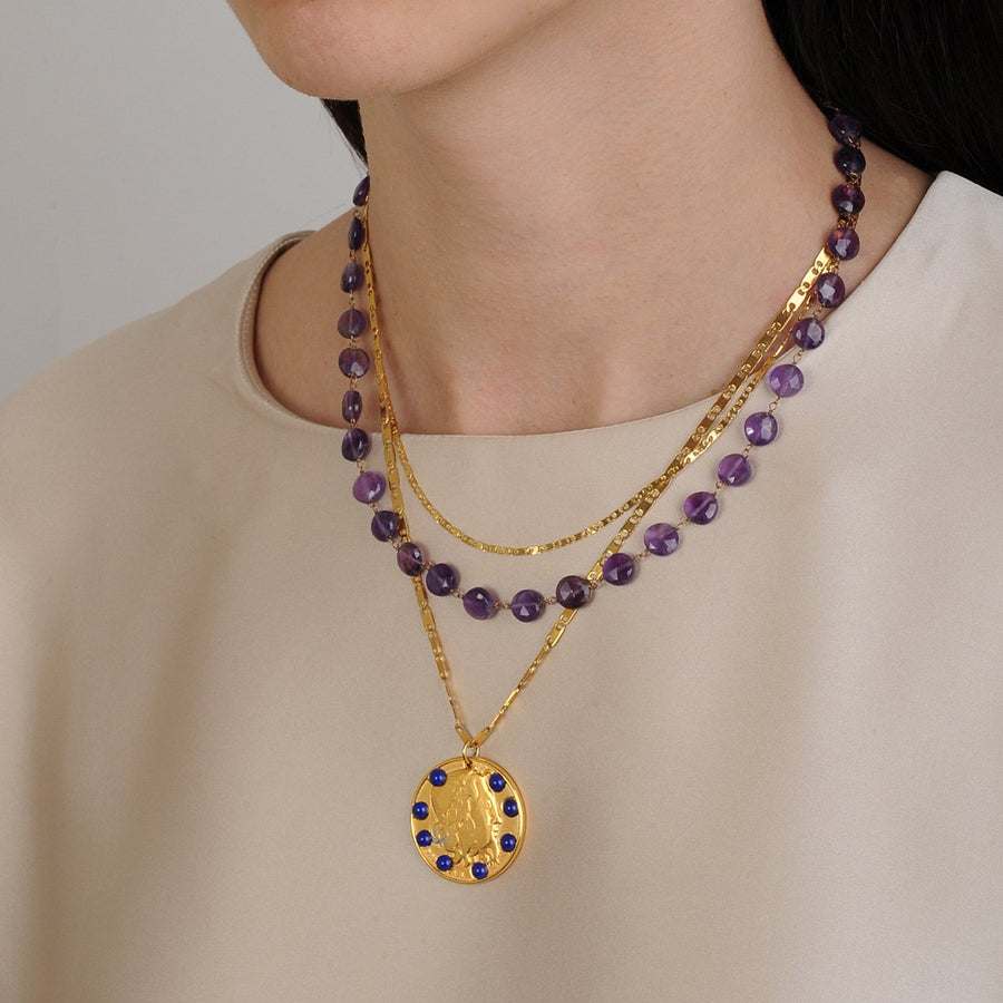 Amore Chain Necklace with Amethyst Katerina Psoma