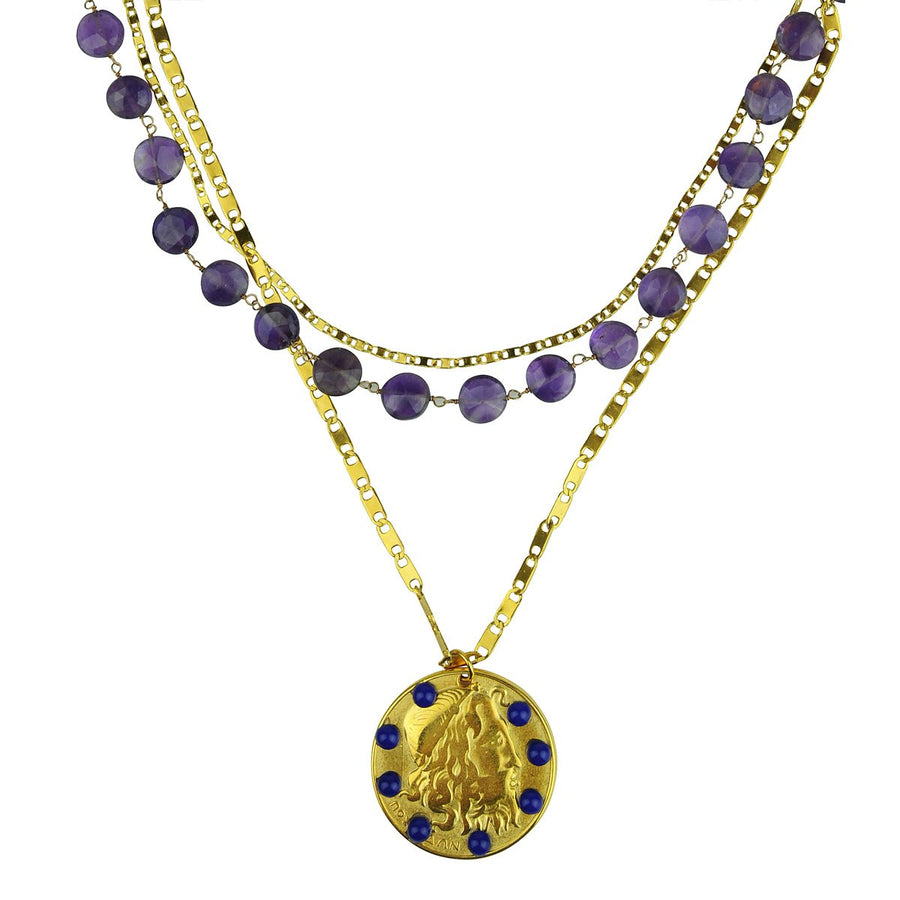 Amore Chain Necklace with Amethyst