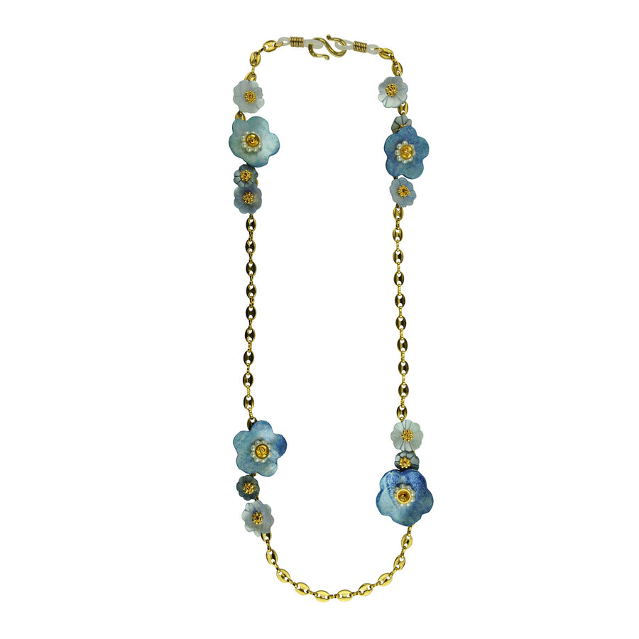 katerina psoma frame chains with blue mother of pearl worn as necklace