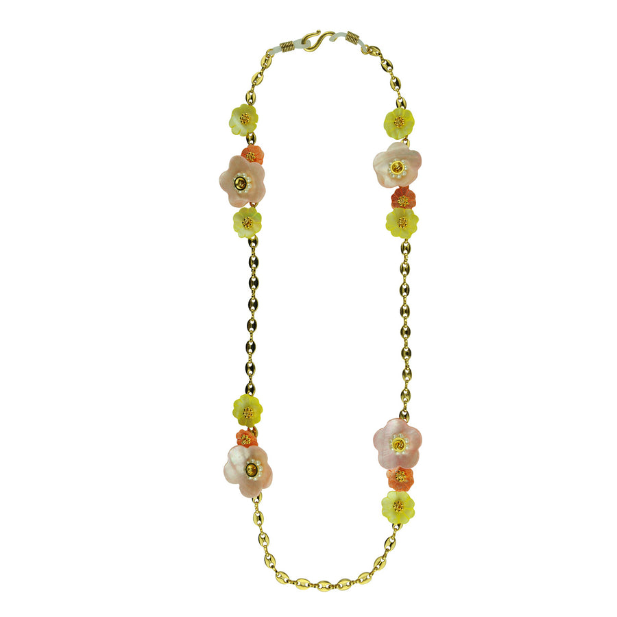 katerina psoma frame chains with multicoloured mother of pearl worn as necklace