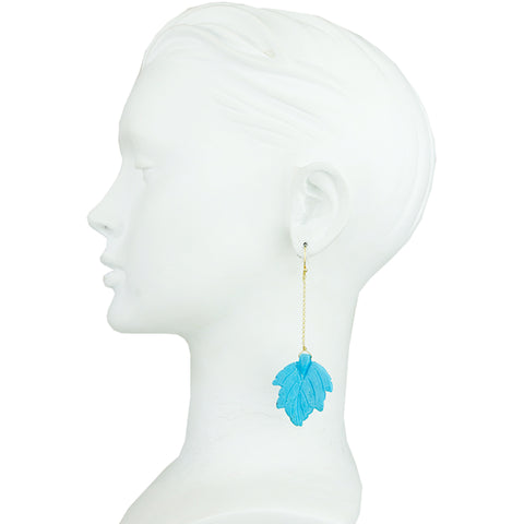 Turquoise Leaf Motif Earrings