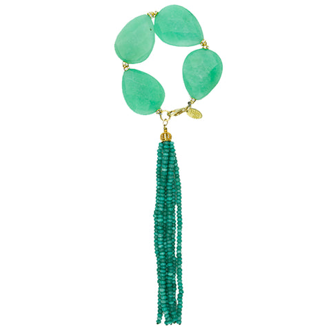 Green agate and Tassel Bracelet