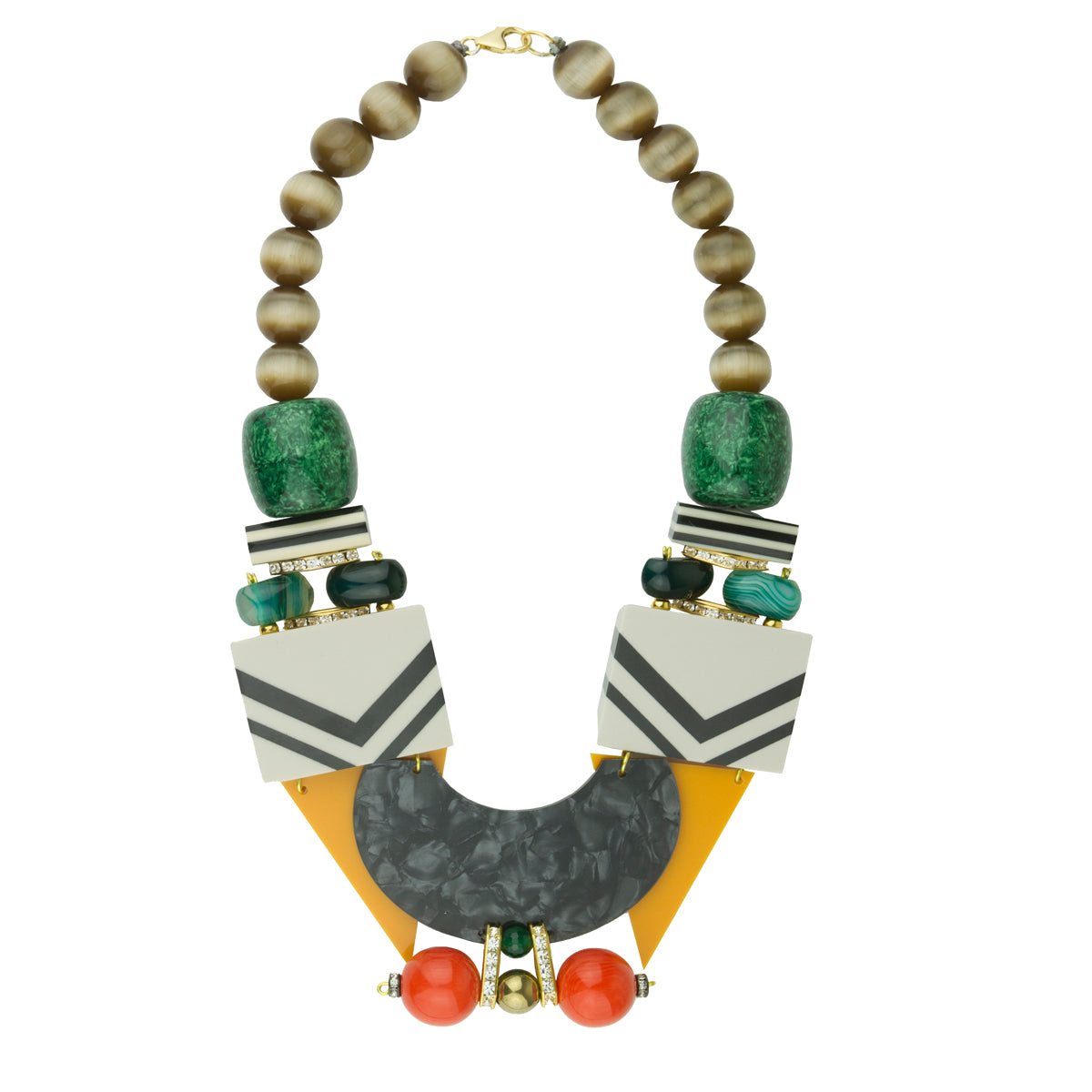 Memphis Resin and Acrylic Statement Necklace with Green Agate