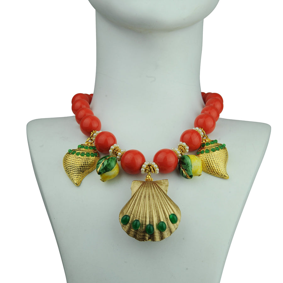 coral short statement necklace with sea motifs katerina psoma detail