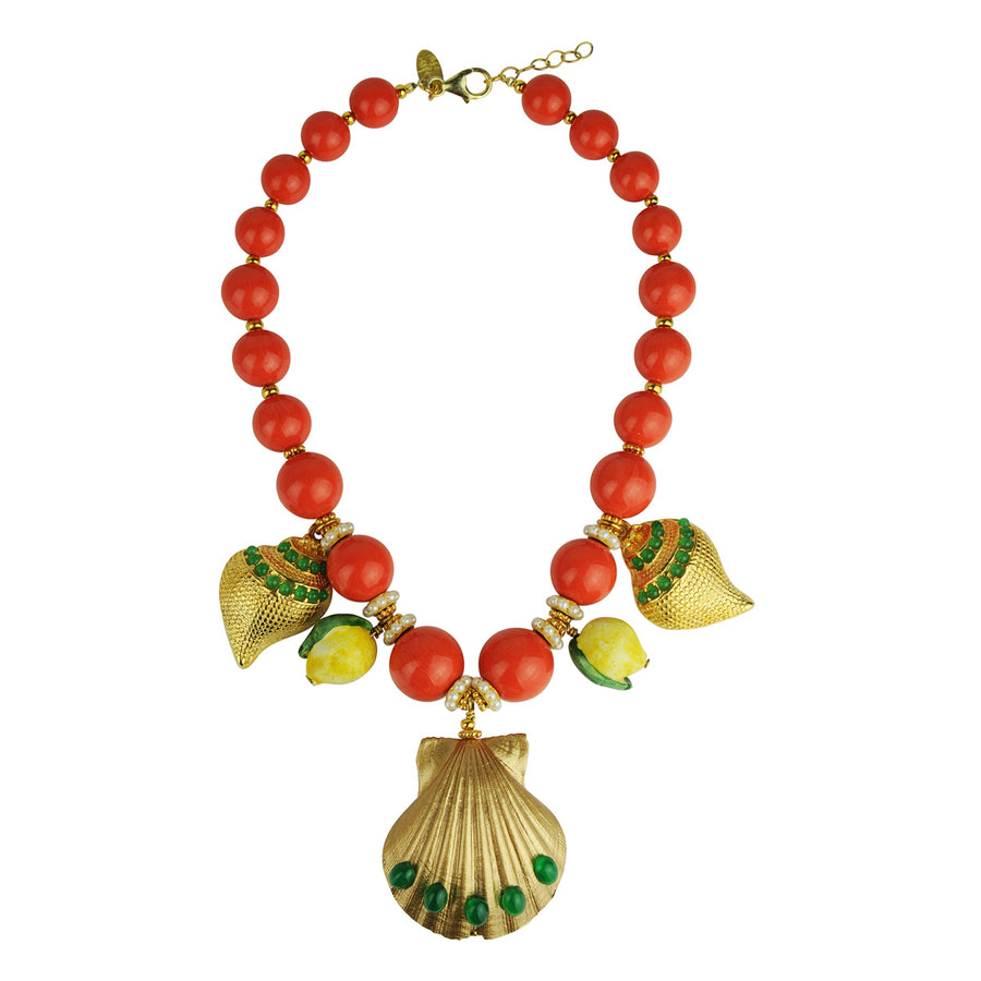 coral short statement necklace with sea motifs katerina psoma
