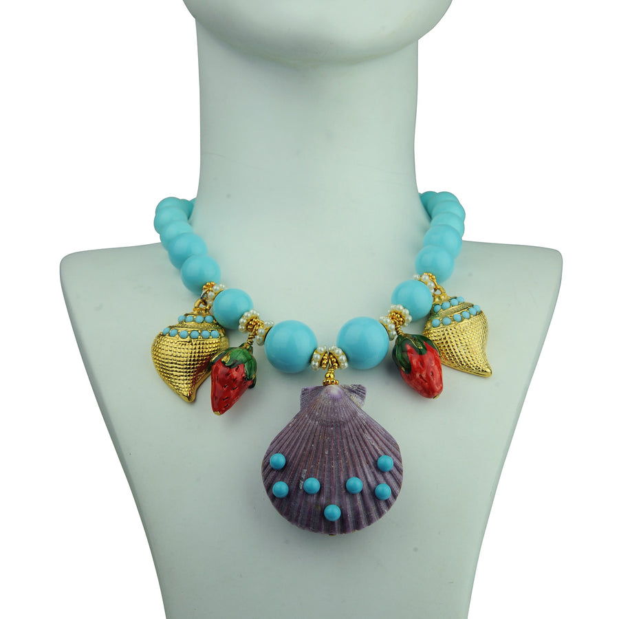 turquoise short statement necklace with sea motifs katerina psoma detail