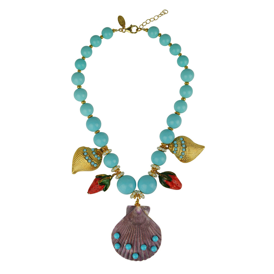 turquoise short statement necklace with sea motifs katerina psoma