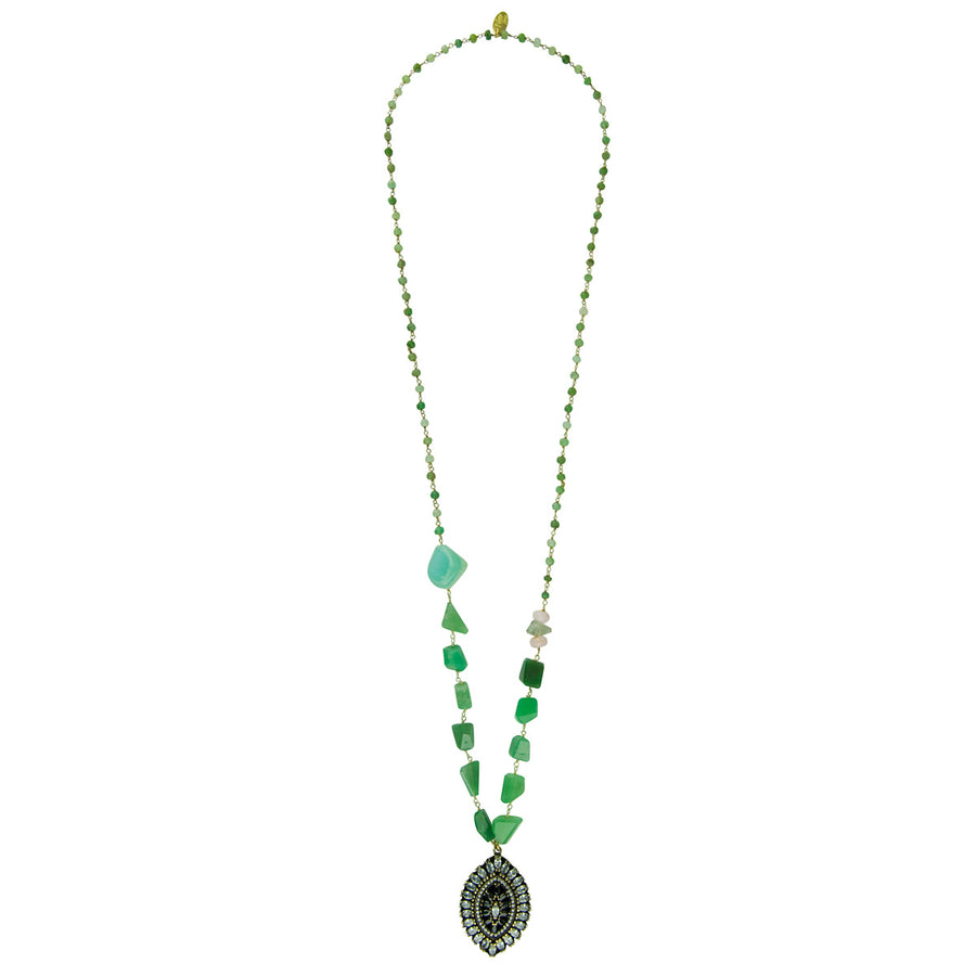 Chrysoprase Long Pendant Necklace Katerina Psoma with vintage crystal pendant glamorous