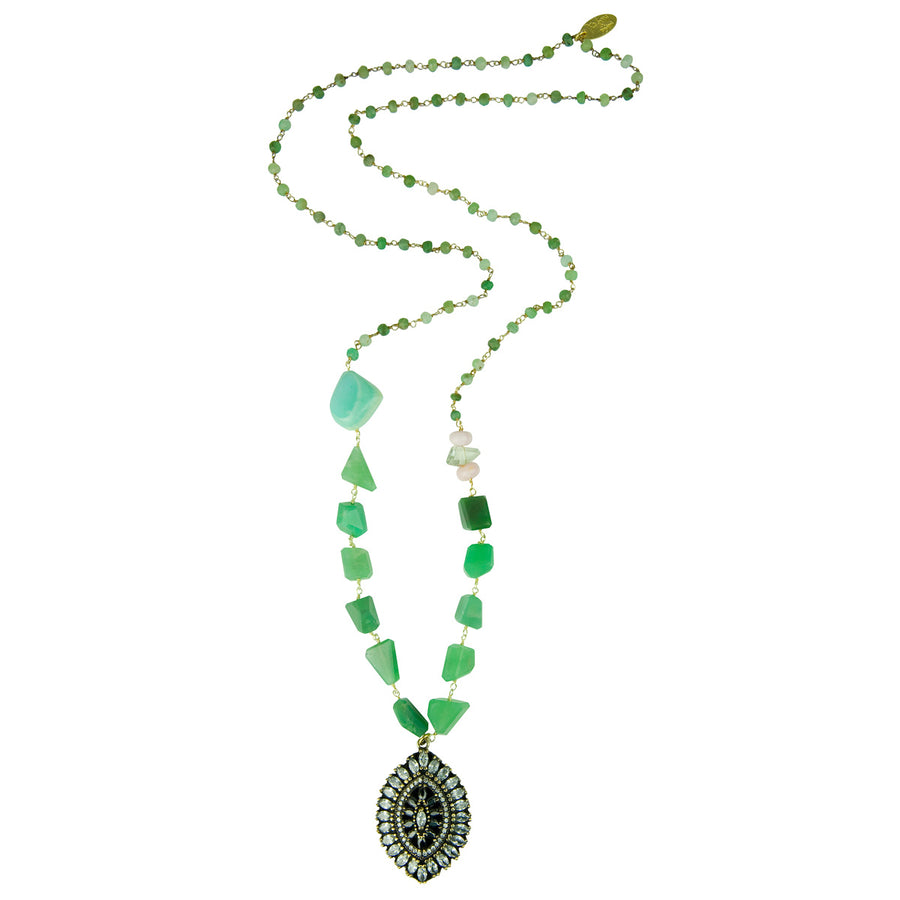 Chrysoprase Long Pendant Necklace Katerina Psoma with vintage crystal pendant bohemian style