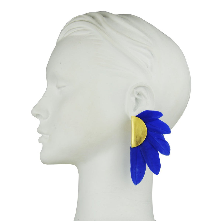 Blue Feather and Gold Plated Metal Clip Earrings katerina psoma statement