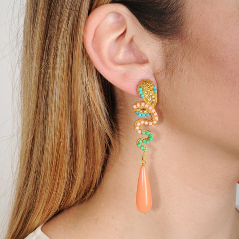Nuwa Gold Plated Metal and Snake Earrings with Coral Drops