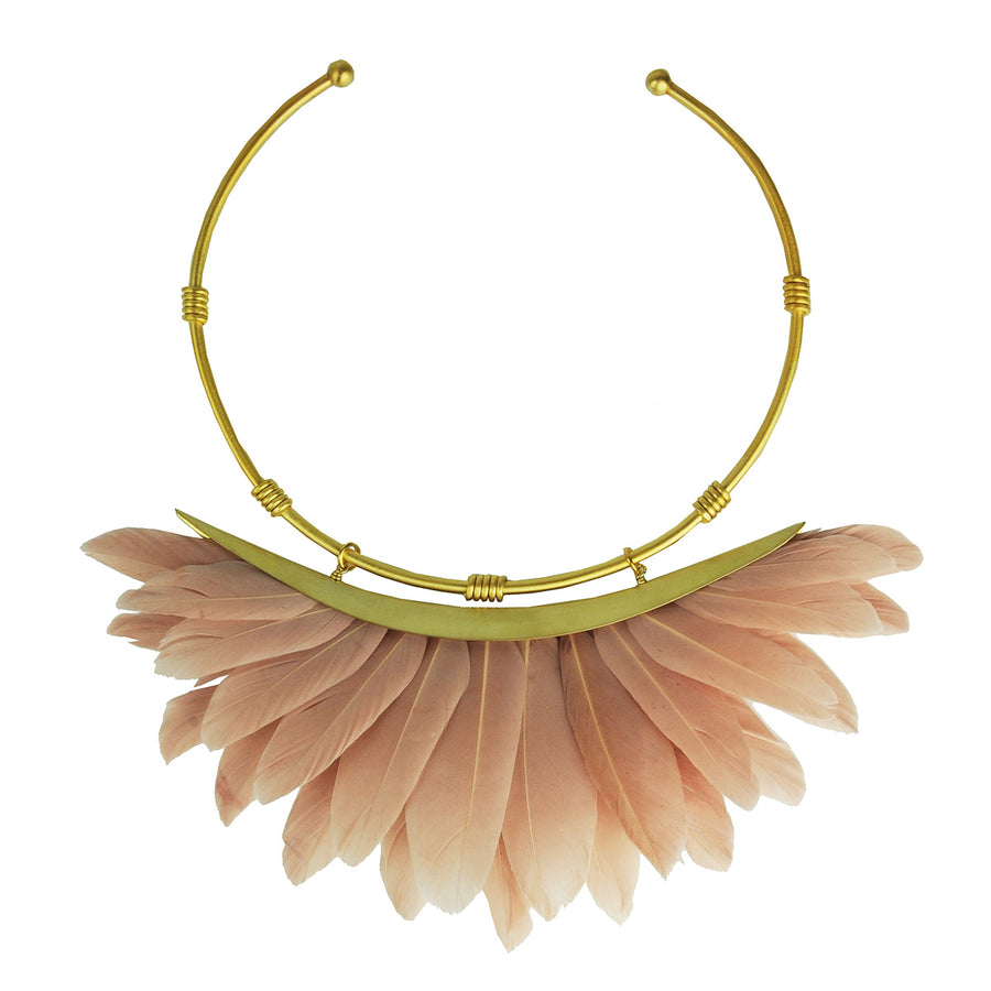 Artemis Dusky Beige Feather Gold Plated Metal Collar Necklace