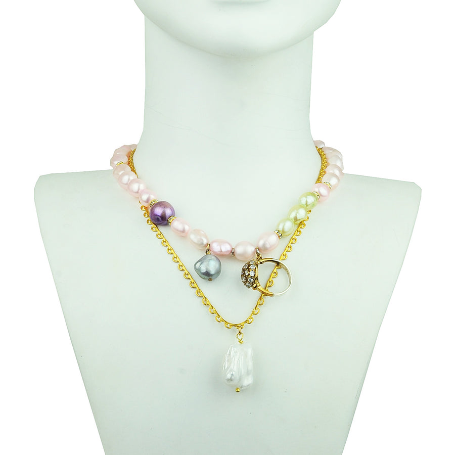 Short pink fresh water pearl necklace with chains and charms katerina psoma detail