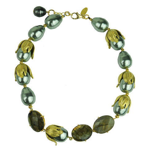 short necklace with grey pearls and labradorite katerina psoma