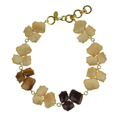short beige faceted  cat's eye necklace katerina psoma 925 silver closure