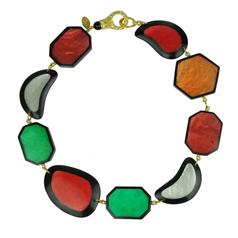 short necklace with multicolored resin slabs katerina psoma