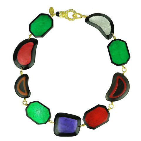 short daywear necklace with multicolored resin slabs katerina psoma