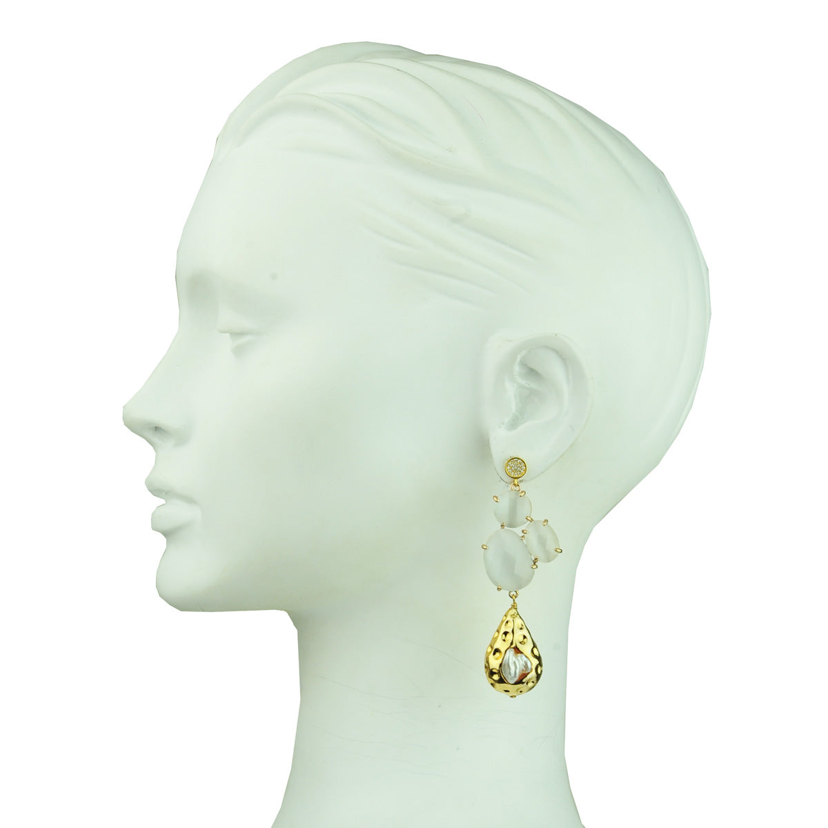 dangle earrings with white cat's eye slabs and pearls katerina psoma on model