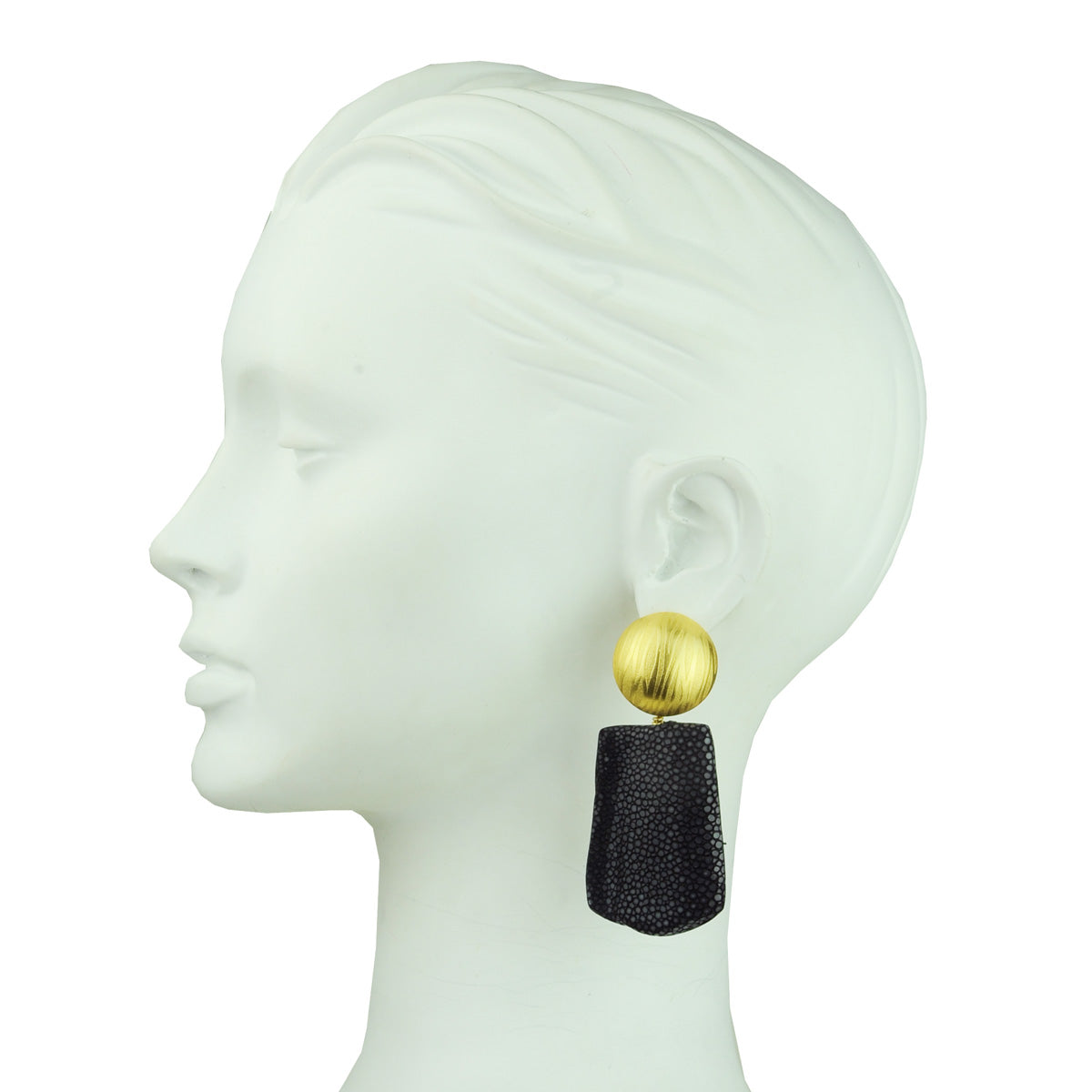 gold plated clip earrings with  black stingray drops katerina psoma on model