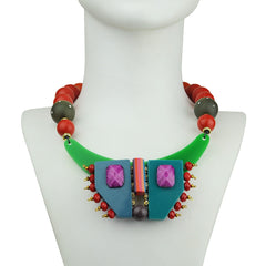 short necklace with multicolored resin, orange beads and green acrylic katerina psoma model