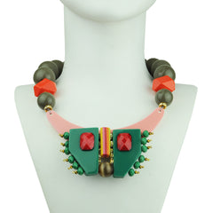 short necklace with multicolored resin, beige beads and green acrylic katerina psoma model