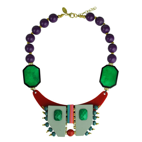 short necklace with multicolored resin beads and green acrylic katerina psoma
