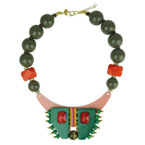 short necklace with multicolored resin, beige beads and green acrylic katerina psoma