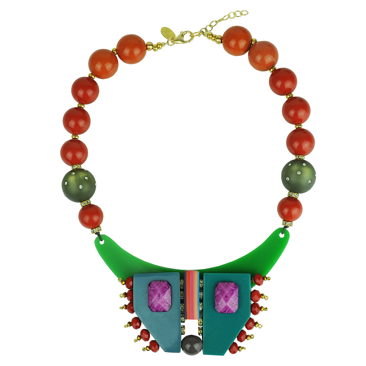 short necklace with multicolored resin, orange beads and green acrylic katerina psoma