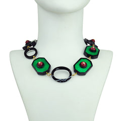 Katerina Psoma Green Resin Short Necklace with Vintage Cabochons bust