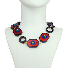 Katerina psoma Red Resin Short Necklace with Vintage Cabochons bust