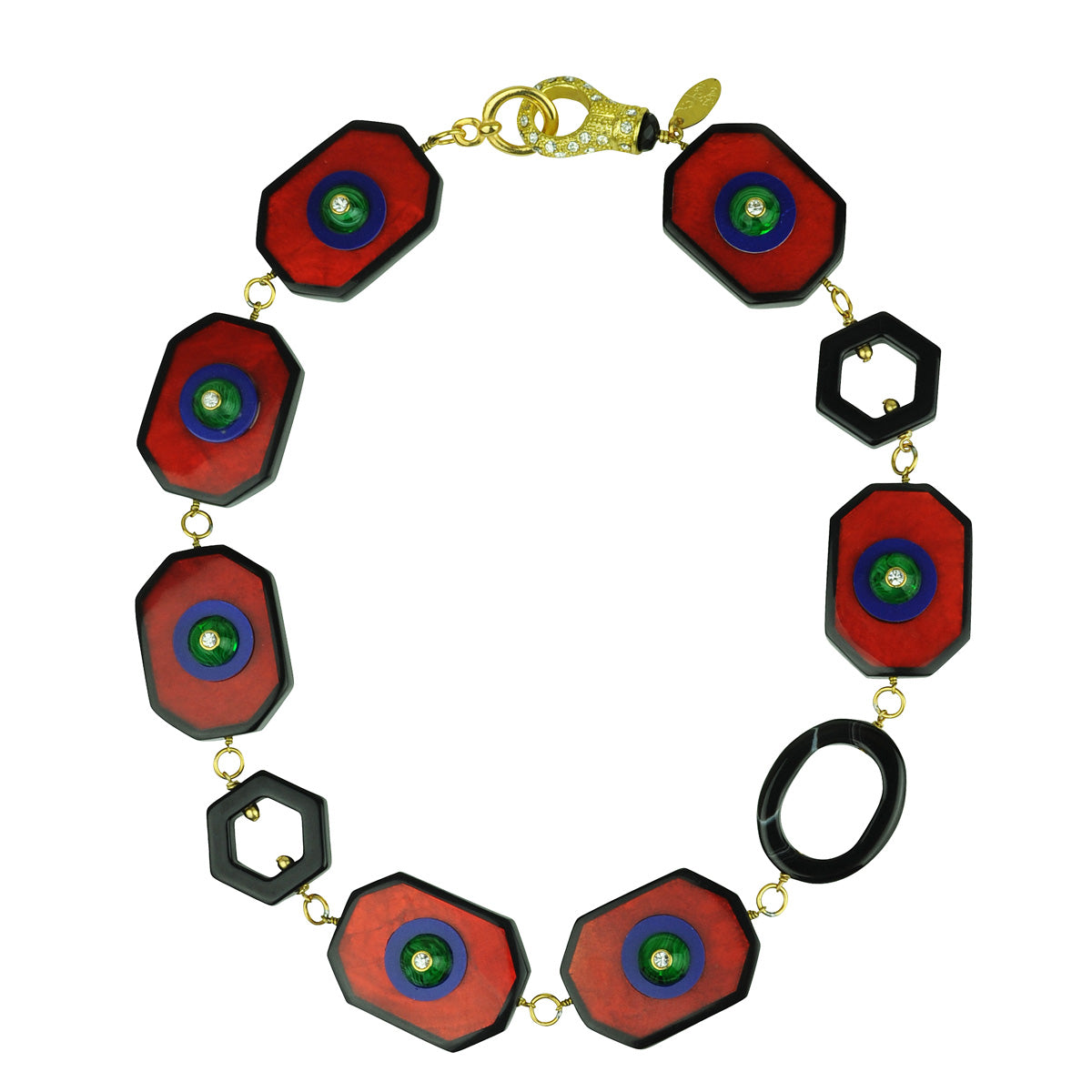 Katerina psoma Red Resin Short Necklace with Vintage Cabochons