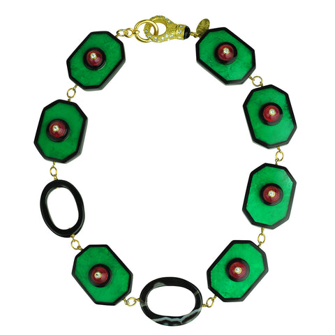 Katerina Psoma Green Resin Short Necklace with Vintage Cabochons