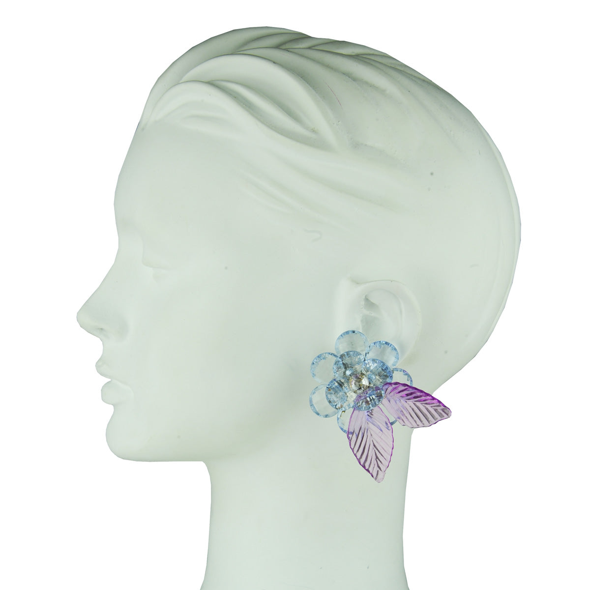 light blue flowers clip earrings katerina psoma detail