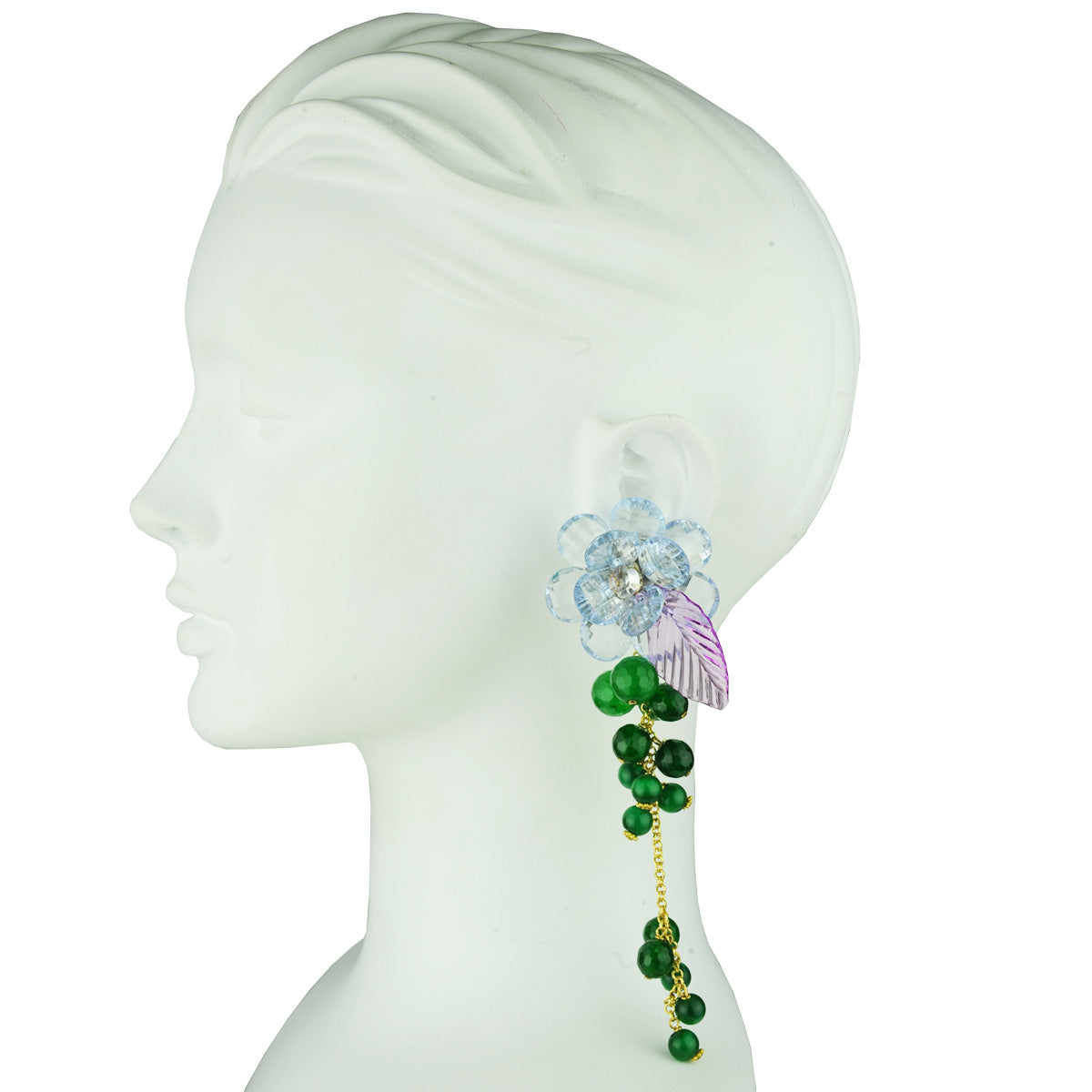 clip dangle earrings with faceted purple flowers and green agate katerina psoma